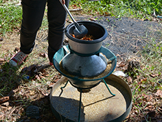 Rice hull stove